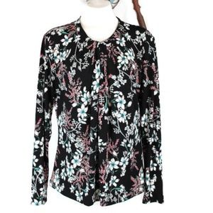 Liz Claiborne Career Floral L/S Stretch Top